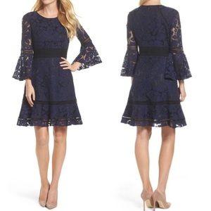 Eliza J navy blue and black bell sleeve lace dress
